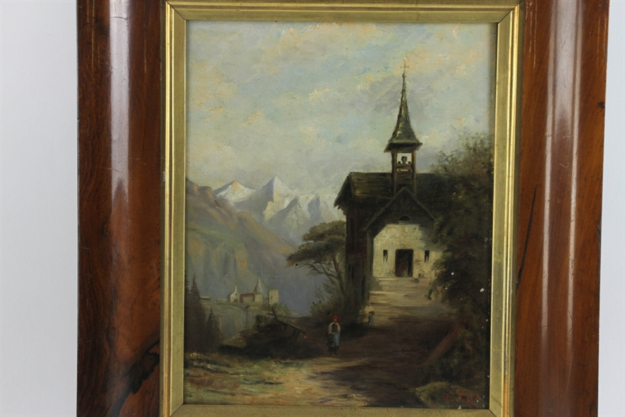 19thC Oil on Canvas of Bell Tower in Switzerland