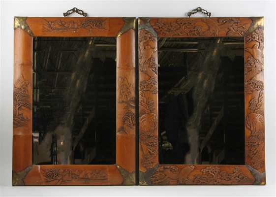 Chinese Bamboo Carved Mirrors