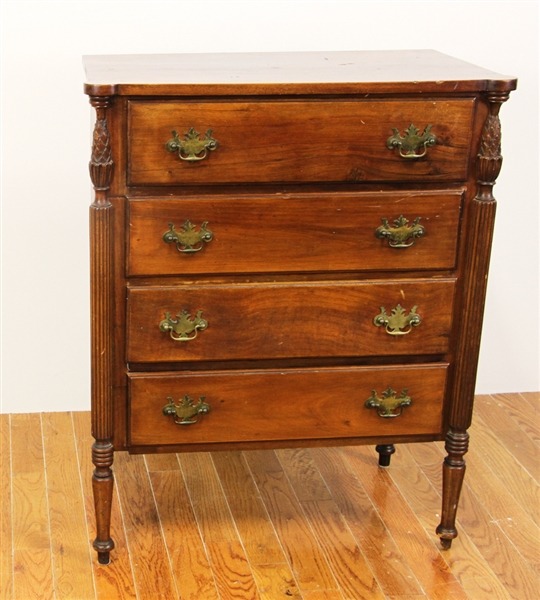Late 19thC Sheraton Four Drawer Chest