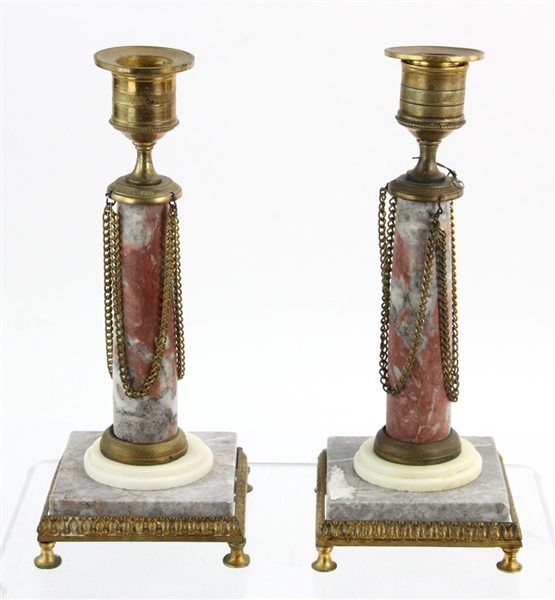 Pair of Marble and Bronze Dore Candlesticks