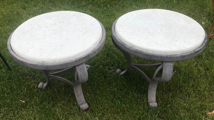 Pair of Painted Brown Metal Round Tables