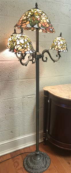 Tall Lamp with Stained Glass Shades