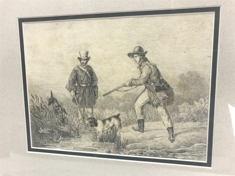 Hunter with Dogs, Pencil Drawing
