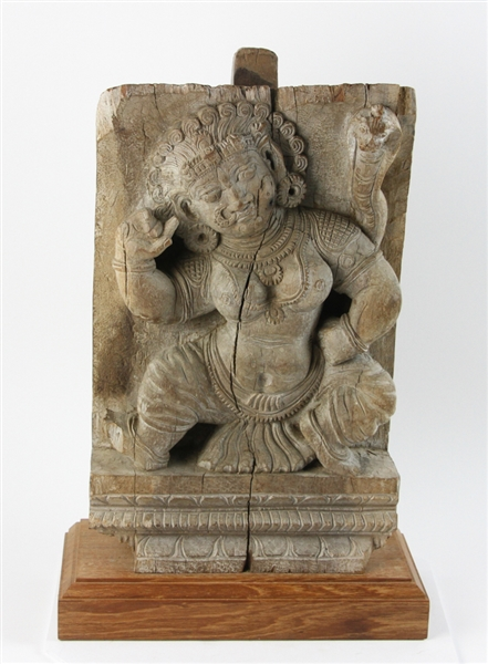 Ancient Indian Wood Carving of Durga