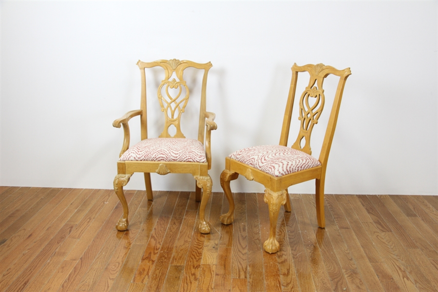 (8) Custom Maple Chippendale Dining Chairs