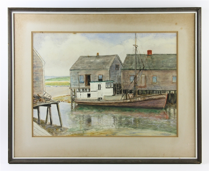 J Albert Wilson, Lobster Boat, Watercolor