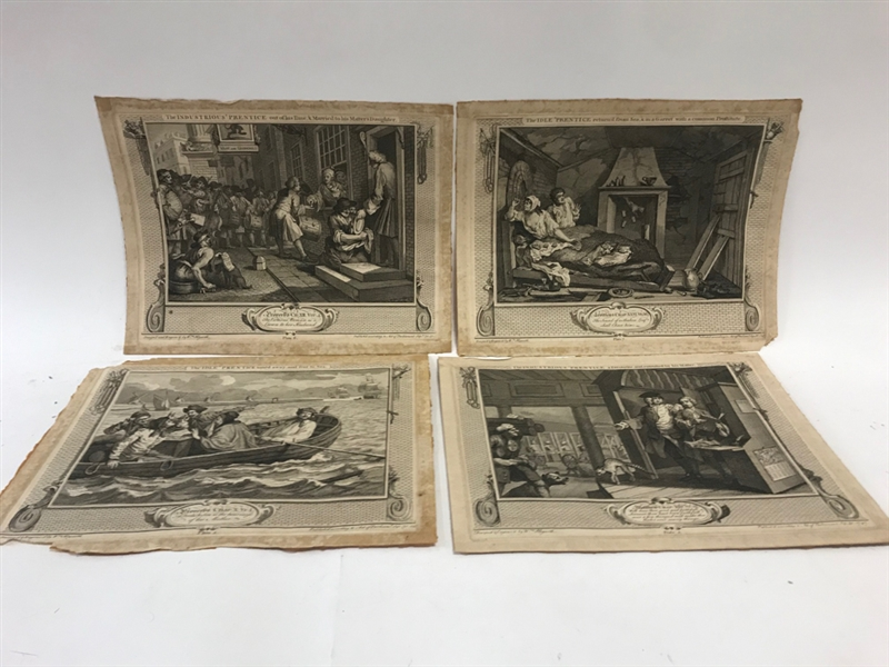 (12) 18thC Hogarth Prints