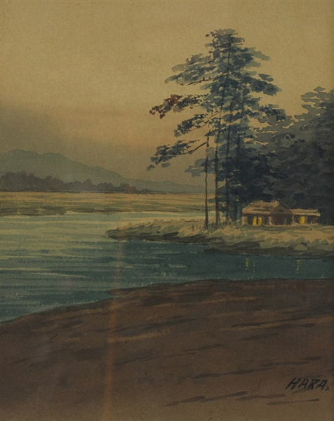 Hura Signed, Japanese Watercolor Landscape