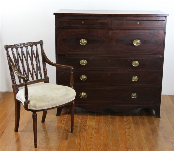 Fine Federal Mahogany Desk with Chair