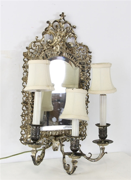 Silver Bronze Mirrored Sconce