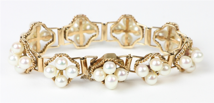 Pearl and 14k Gold Bracelet