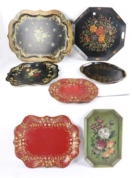 Seven Tole Decorated Trays