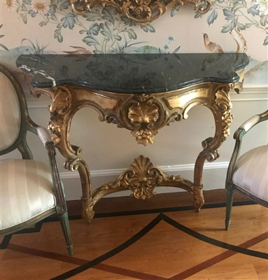 19thC French Rococo Carved Giltwood Console Table