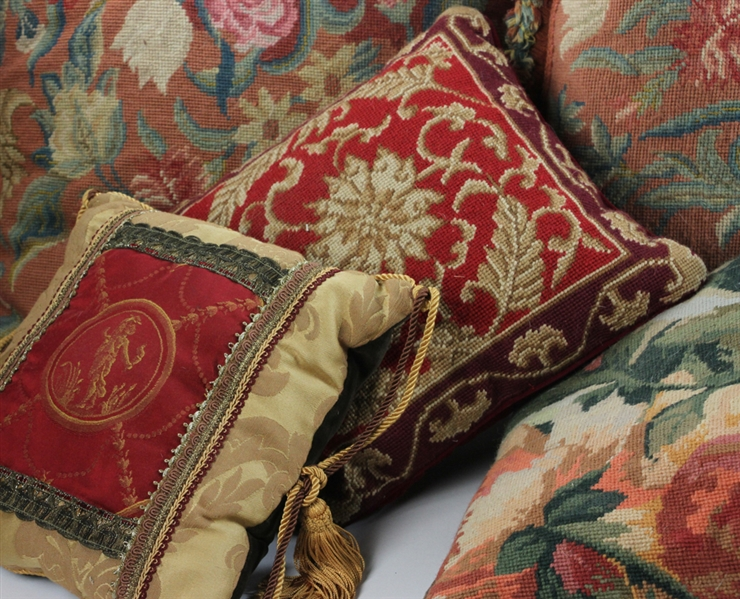 Collection of European Style Embroidered Pillows