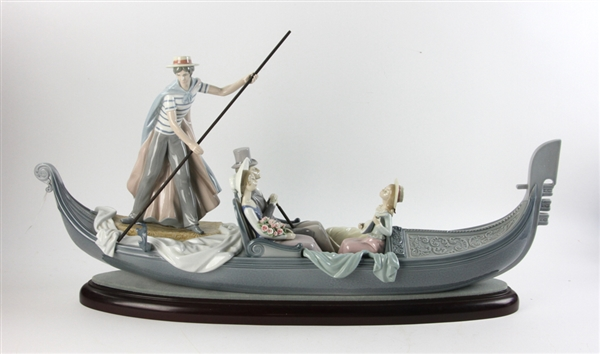 Lladro Porcelain Gondola with Figure