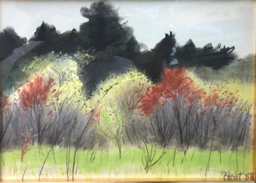 Pastel of Trees Signed M Light