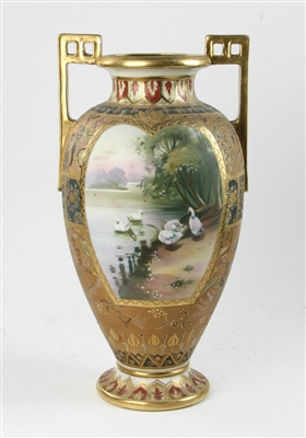 Rare Nippon Egyptian Revival Hand Painted Vase