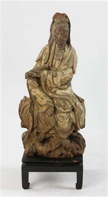 Early Chinese Guanyin Carved Wood Figure