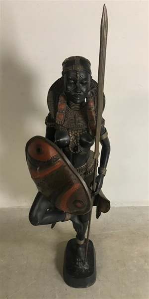 African Bronze Sculpture of Female Figure