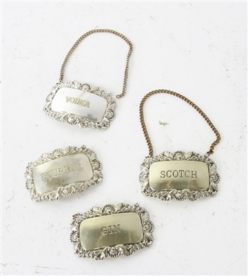 Silverplate Liquor Tags
