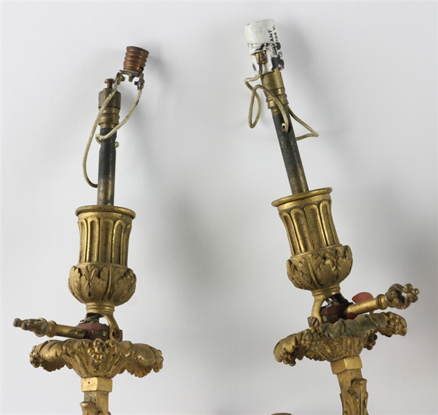 19thC French Brass Figure Head Wall Sconces