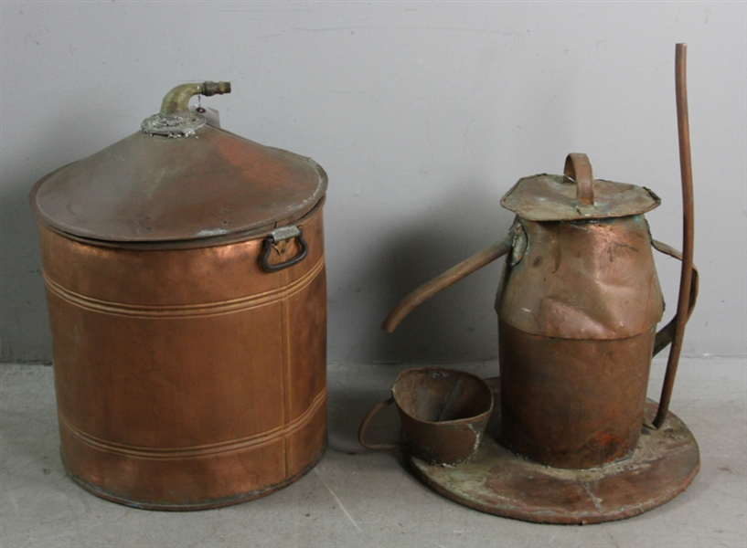 Old Copper Moonshine Kettle, Drum and Bucket