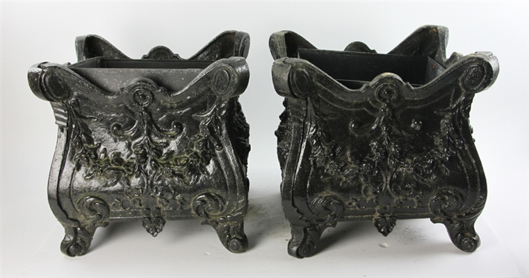 Two Victorian Style Black Painted Metal Planters