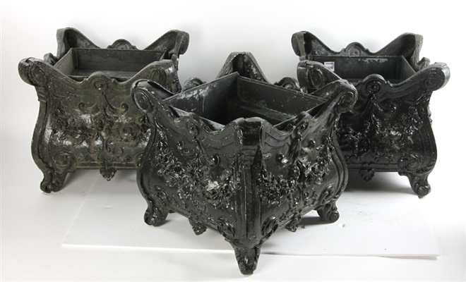 Three Victorian Style Black Painted Metal Planters
