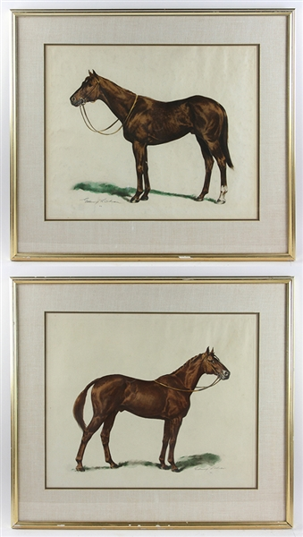 Edward L Chau, Pair of Equestrian Colored Etchings