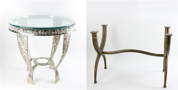 Art Deco Brass Table and Small Table