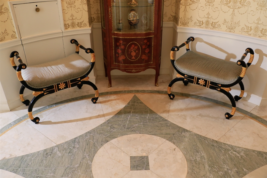 Pair of neo Classical carved window benches, painted black with gilt wood 26.5x18x30