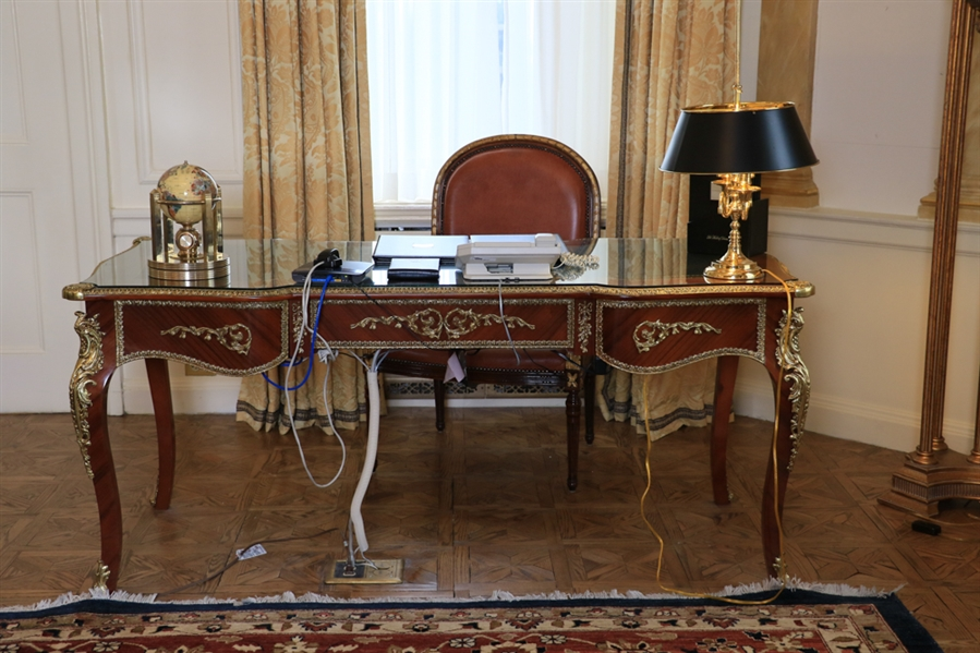 French Louis XV Style Fruitwood Desk with Extensive Ormolu Mounts