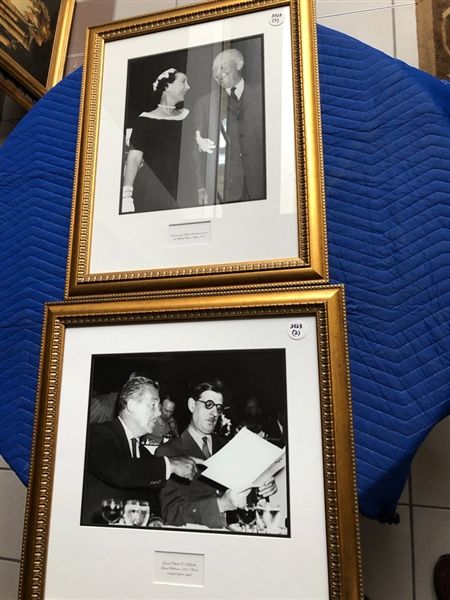 Lot of 2 political photographs; U.S. President Eisenhower with First Lady, General Charles C. DeGaulle, gf