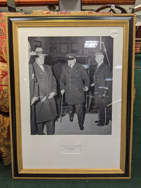Winston Churchill, large framed photograph arriving at Waldorf Astoria frame 32 x 24 inches, image size 19 x 16 inches