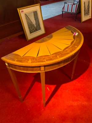 Satinwood demi lune table with starburst design