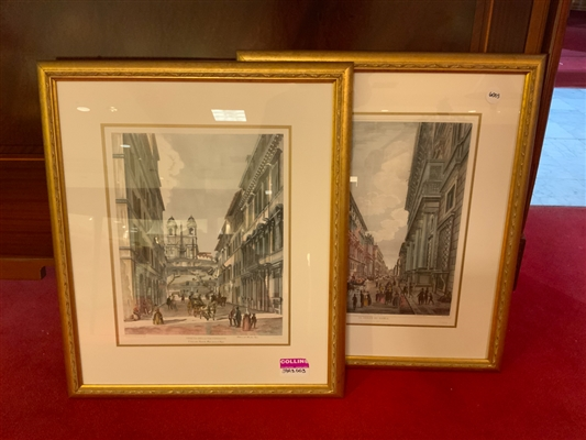 Pair of French streetscape prints