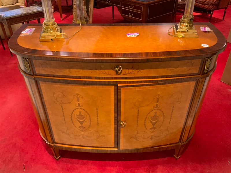 D shaped inlaid French hall cabinet