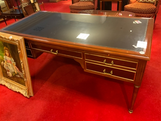 Regency table desk with embossed leather top