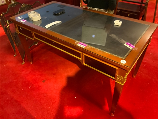 Regency table desk with embossed leather top with chair