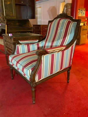 Blue and red striped French carved chair