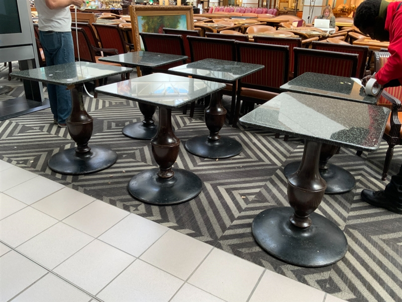 Lot of 6 granite top dinette tables, 24x30