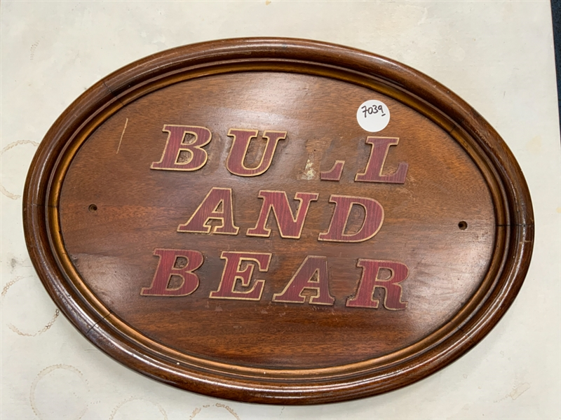 Bull and Bear sign wood carved letters, broken L