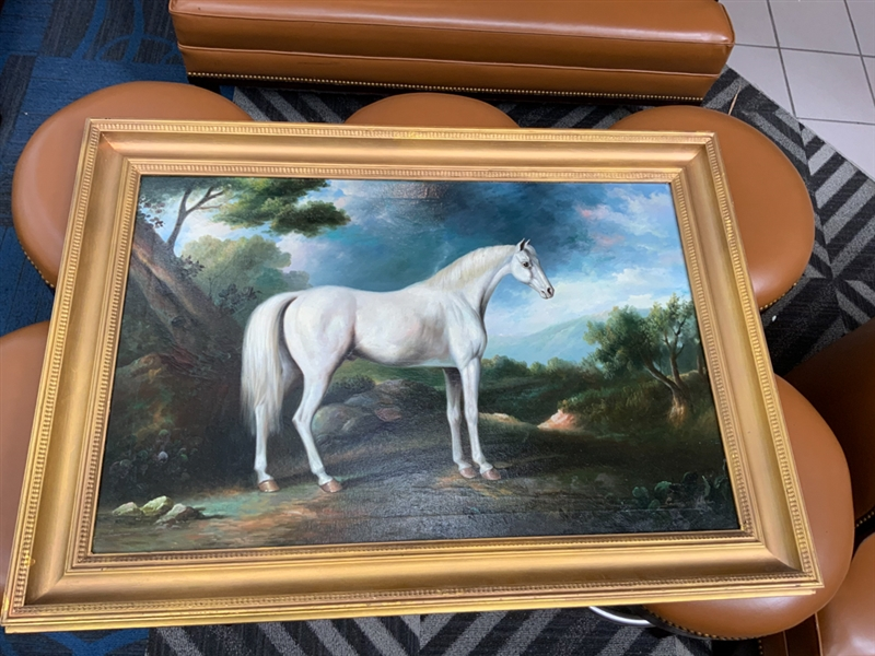 Oil on canvas painting of a white stallion