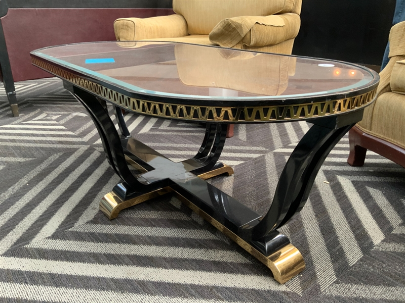 Coffee table black brass and lacquer