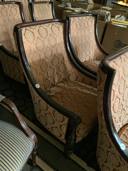 Lot of 2 high back lobby chairs