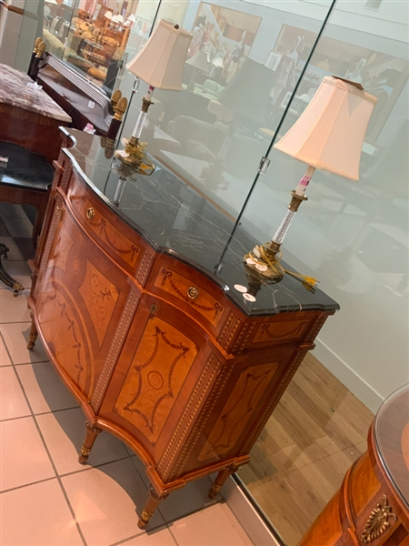 Adam Style Marble Top Cabinet, Lamps