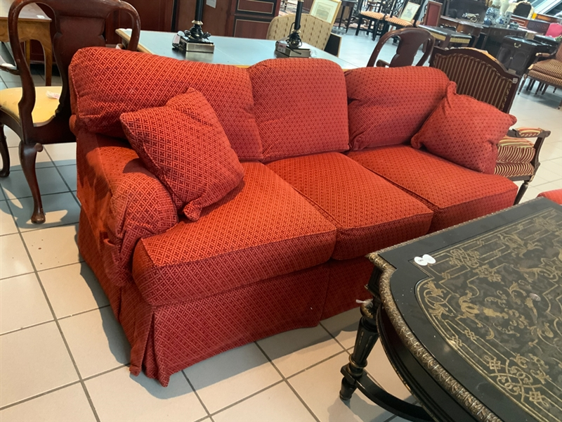 Pearson Upholstered Red Brocade Sofa