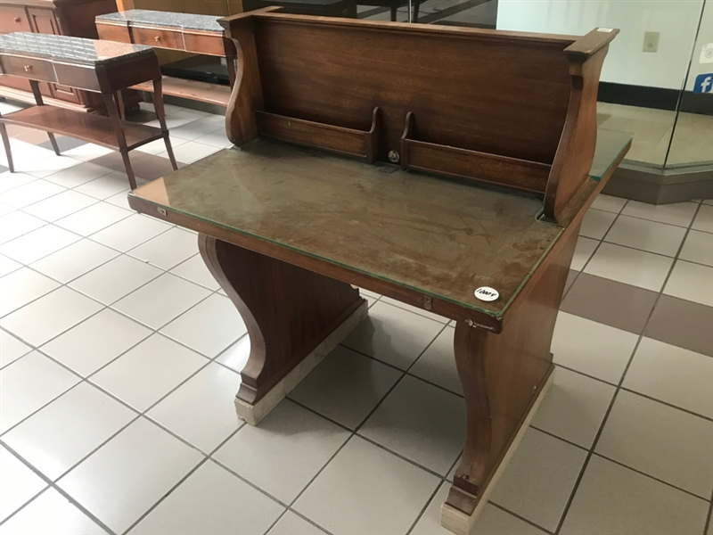 Antique Mahogany Bank Desk with Glass Top