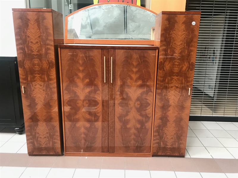Art Deco Style Flame Mahogany Entertainment Cabinet with Mirror
