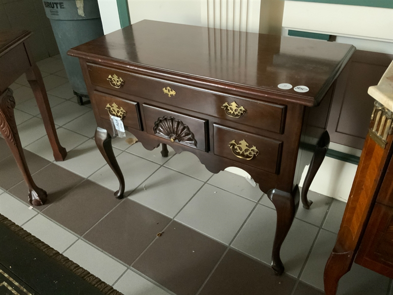 Queen Anne Style Mahogany Carved Lowboy